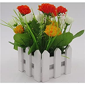 Artificial Carnations Flowers,DIY Wooden Fence Artificial Silk Flowers to Make a Bountiful Flower Arrangement nearly Natural Fake Plant to Brighten up Your Home Party and Wedding Decor(Orange) 45