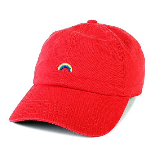 Hat Adjustable Baseball Cap Dad Hat Vintage Cap (Black) (Red) (Rainbow Embroidered Hat)