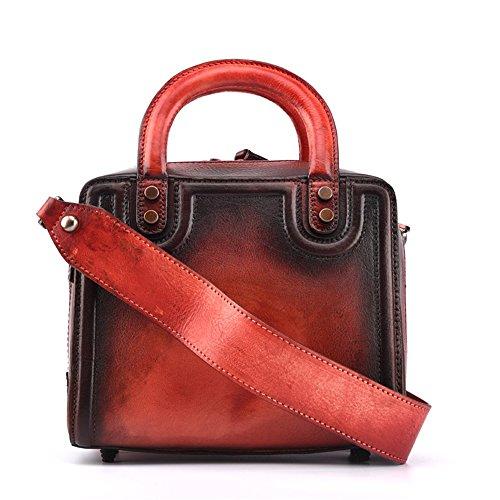 Asdflina Grande capacità The First Layer Of Leather Handbag Borsa tote in stile retrò tinta unita colorata a mano Adatto per l'uso quotidiano (Colore : Giallo) Rosso