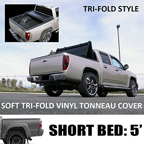 "VXMOTOR Tri-Fold Soft Vinyl Truck Bed Topper Cap Tonneau Cover 2016-2017 Toyota Tacoma 5 Ft 60"" Short Bed Access / Double Cab Fleetside"