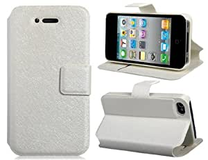 Silk Pattern Faux Leather & TPU Stand Flip Case for iPhone 4/4S (White)