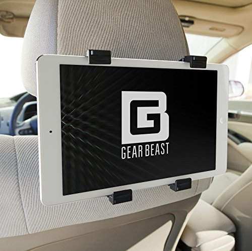 Gear Beast Car Seat Headrest Mount iPad and Tablet Holder for iPad Pro, Air, Mini, Galaxy Tab, Kindle Fire and 7 to 13 inch Tablets from Google, Asus, Acer, Lenovo, Microsoft, Nvidia, Nabi and More
