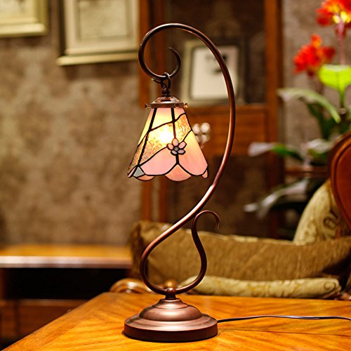 Tiffany Lamp/Study Lamp/Bedroom Bed Lamp/European Style,Rural,Fashion, Simple Stereo,Glass Table Lamps-pollen-A