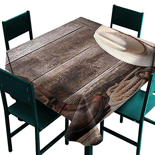 Warm Family Western Decor Washable Table Cloth American West Rodeo White Straw Cowboy Hat with Lariat Leather Boots on Rustic Barn Wood Great for Buffet Table W60 x -