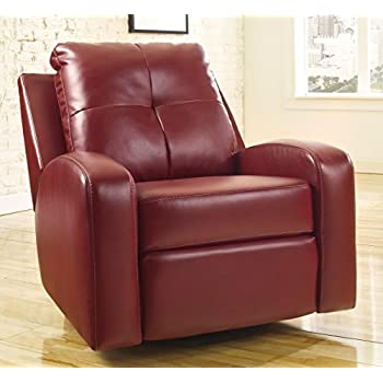 Ashley Furniture Signature Design - Mannix Swivel Recliner Chair - Manual Glider Reclining Motion - Red : ashley furniture recliner chairs - islam-shia.org