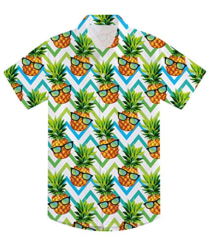 (uideazone Teen Boys Hawaiian Luau Shirts 3D Printing Funny Pineapple Aloha Tops Summer Beach Short Sleeve Floral Party Tees Novelty Polo Apparel for Camp Holiday Casual)