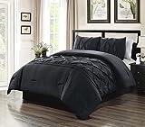3 Piece QUEEN size Solid BLACK Double-Needle Stitch Puckered Pinch Pleat Stripe All-Season Bedding-Goose Down Alternative Comforter Set