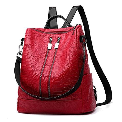 CrazySell - Bolso mochila  para mujer Talla única Rosso