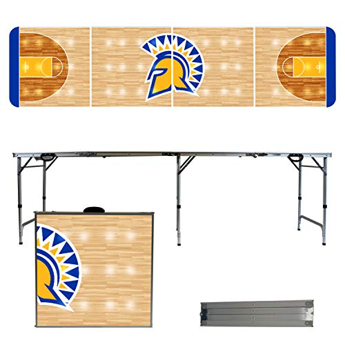Victory Tailgate NCAA San Jose State University 8'x2' Foldable Tailgate Table with Adjustable Hight and Spill Resistant Sealant - Basketball Court Series