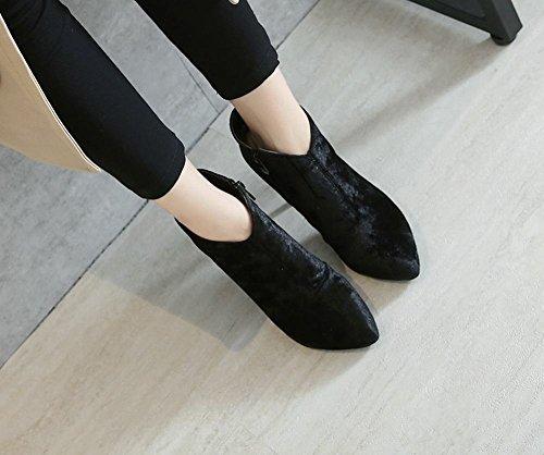 Latasa Dames Door De Mens Veroorzaakte Suède Hoge Hak Enkellaarzen Laarzen Zwart