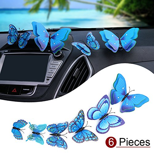 YGMONER 6PCS 3D Butterfly Decors Car Furnishing Articles Crafts Butterflies with Spring and Suction Cup (Blue) ()