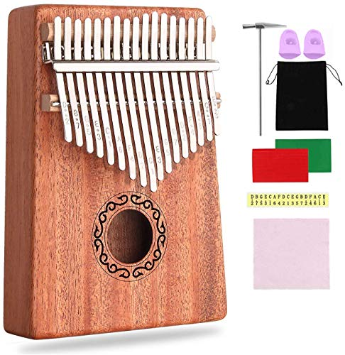 CXhome Kalimba 17 Key Thumb Piano,Mbira African Mahogany Finger Piano Pickup with Carrying Bag and Instructions, Likembe Musical Instruments for beginners or professioners