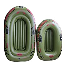 Selani 2 Adult+1 Child Preson Thicken Inflatable Fishing Boat PVC Air Kayak 182*110*36cm,Include A Pair Of Oars+Hand Pump+Repair Selani Kit+Rope+Inflatable Tube+Free Fishing Rods