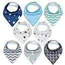 Baby Bandana Drool Bibs, Unisex 8-Pack Gift Set for Drooling and Teething, 100% Organic Cotton, Soft and Absorbent, Hypoallergenic - for Boys and Girls by KiddyStar