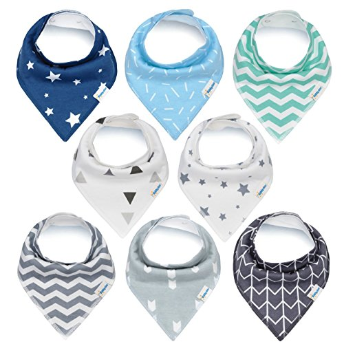Baby Bandana Drool Bibs, Unisex 8-Pack Gift Set for Drooling and Teething, 100% Organic Cotton, Soft and Absorbent, Hypoallergenic - for Boys and Girls by KiddyStar Bandana Bib