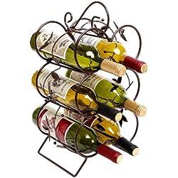 Decorative Wine Rack 6 Bottle Display Stand / Storage Organizer, Chocolate Brown - MyGift