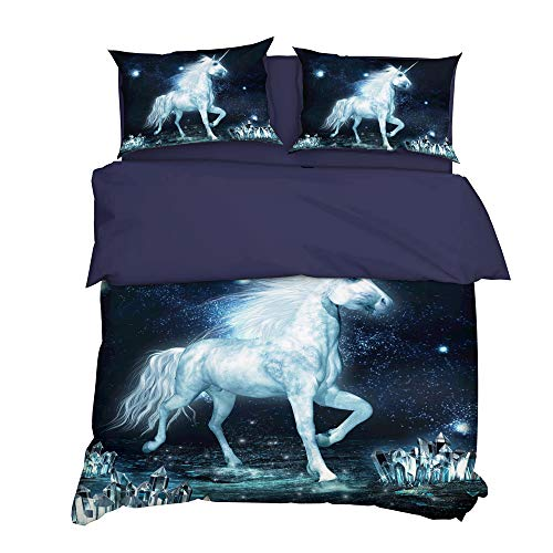 (A Seed Duvet Cover Set Queen 3 Pieces Bedding Covers 1 Quilt Cover and 2 Pillow Shams Unicorn Vintage Retro for Kids Women Men)