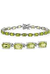10ct tgw Peridot Tennis Bracelet in Sterling Silver 7 1/4 inch