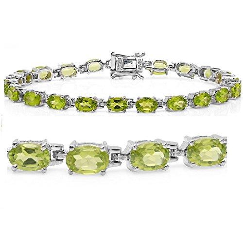 9ct tgw Peridot Tennis Bracelet in Sterling Silver 7 1/4 inch