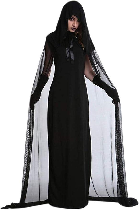 RAXYQ Petalum Disfraz De Bruja De Halloween para Mujer Black Ghost ...