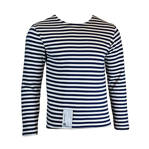 Blue Striped Sweater (Genuine Winter Issue TELNYASHKA Russian Navy Blue Striped Long Sleeve Sweater Top (46