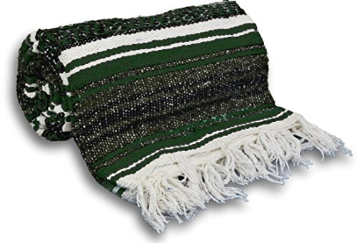 - YogaAccessories Traditional Mexican Yoga Blanket ( Dark Green)