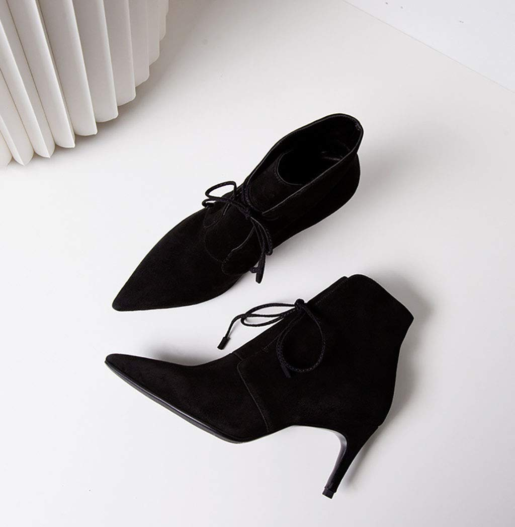 Frauen Kurze Stiefel Leder matt Spitzen hochhackige Stilett Stiefeletten Stiefeletten Stiefeletten schnüren Mode Stiefel Herbst und Winter b6503f