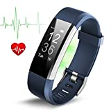 Fitness Tracker Tigerhu Smart Bracelet Pedometer Wristband with Heart Rate Monitor Sleep Monitor Step Tracker Calorie Counter - Wearable for Android and iOS Smartphone (Blue)