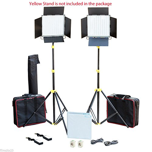 CAMTREE Professional 2pcs 1000 High-Power White LED Light Panel Kit | Dimmable Light for Studio Photography Wedding DSLR Video Cameras + Accessories + Bags (C-1000-W-2)