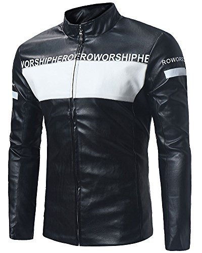 Para Cremallera La PU de Chaqueta Hombre Motocicleta de Negro Cuero Cazadoras pqXBWnIwO