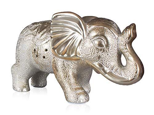La Ceramica Home Décor Scented Elephant Ceramic Centerpiece Cedar Amber Gold