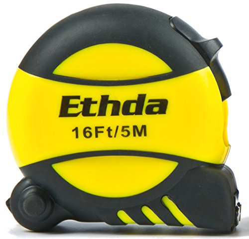 Ethda Tape Measure  Easy To Read Ruler  Retractable  Heavy Duty  Magnetic Hook  Sturdy Blade  Power Lock  Clip And Strap  Imperial Inch Metric Scales  Shock Absorbent Solid Rubber Case 16 Foot  5M