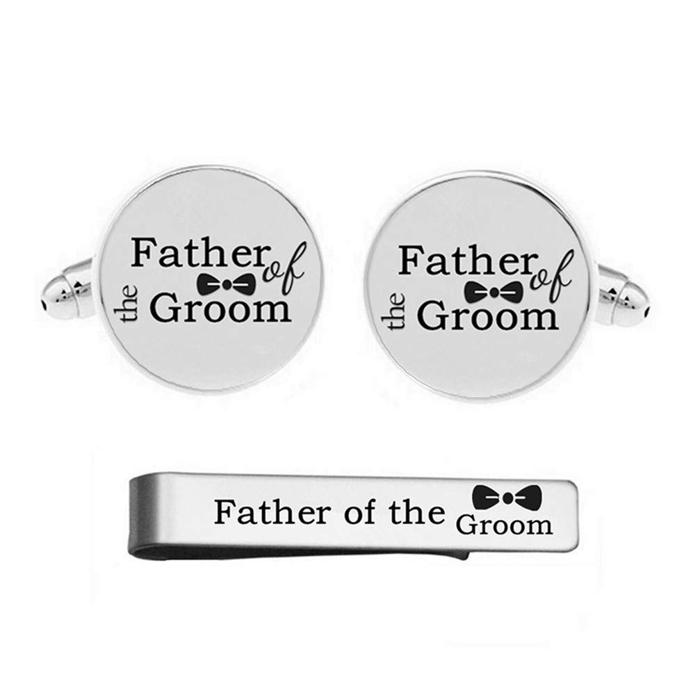 Kooer Custom Personalized Wedding Engraved Cuff Links Tie Clip Set Engrave Wedding Cufflinks Jewelry Gift (Father of the groom set)
