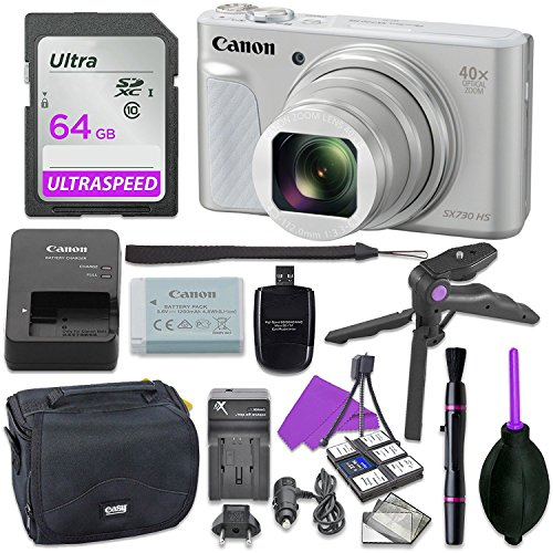 Canon Powershot SX730 Silver Point & Shoot Digital Camera Bundle w/Tripod Hand Grip, 64GB SD Memory, Case and More