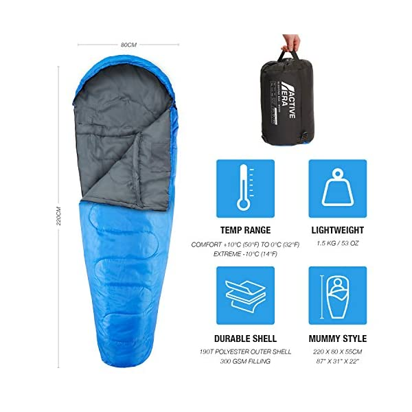 Active Era Mummy Sleeping Bag with Compression Sack for 3-4 Season - Lightweight, Water Resistant & Warm for Camping, Hiking, Fishing, Traveling and Outdoors 4