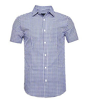 TOPORUS Mens Shirt Short Sleeve Regular Fit Plaid Dress Shirts