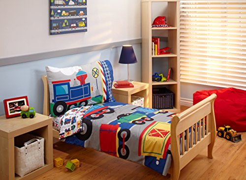 Everything Kids Toddler Bedding Set, Choo (Classic Steam Train Collection)