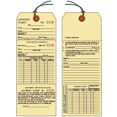 LAYAWAY TICKETS / TAGS, 8-1/2'' X 3-1/8'', Manila Cardstock, 3-Part, Consecutively Numbered, Prestrung - PACK OF 25 by Linco