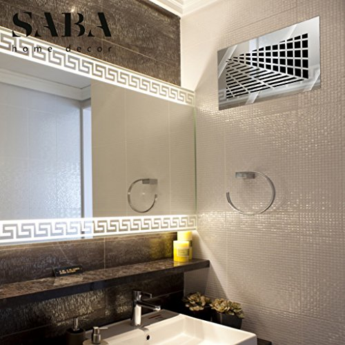 SABA Air Vent Covers Register - Acrylic Fiberglass Grille 14'' x 6'' Duct Opening (17'' x 9'' Overall) Silver Mirror Finish Decorative Cover for Walls and Ceilings (not for Floor use), Vivian by SABA Home Decor (Image #6)
