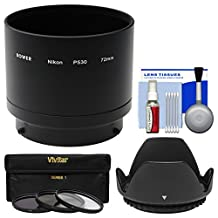 Bower ANP53072 Conversion Adapter Tube for Nikon Coolpix P530 & L830 Camera (72mm) with 3 UV/CPL/ND8 Filters + Lens Hood + Accessory Kit