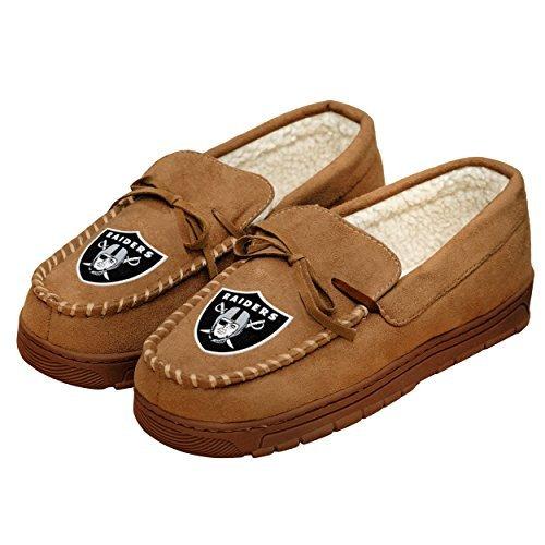 (NFL Football Mens Team Logo Moccasin Slippers Shoe - Pick Team (Oakland Raiders, Small))