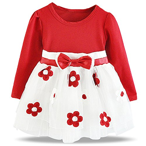 NNJXD Baby Girl Long Sleeve Cotton Kids Casual School Dress for Children