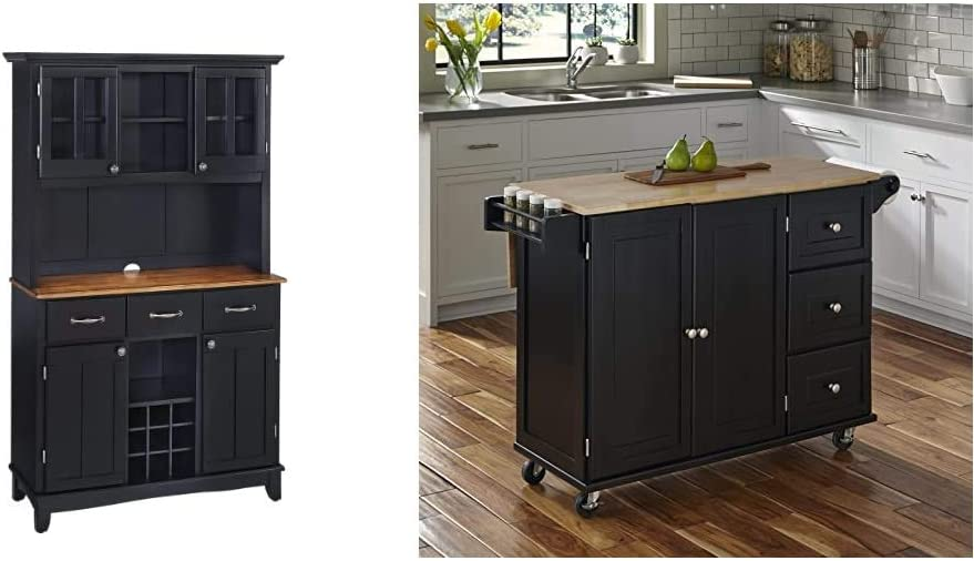 Buffet of Buffets Black with Cottage Oak Wood Top with Hutch by Home Styles, Large Server with Cottage Oak Wood Top & Hutch & Liberty Kitchen Cart with Wood Top - Black