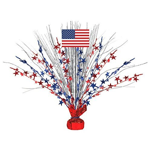 Large Patriotic Foil Spray Centerpiece 4th of July Party Table Decoration, 18 (2-Pack)
