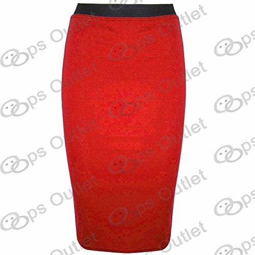 Be Jealous - Jupe Femme Fourreau Uni Bureau Stretch Moulant Mi Long Mini - Grande Taille 44, rouge