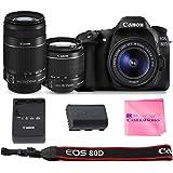 Canon EOS 80D SLR Digital Camera Value Bundle (80D Body + Canon EF-S 18-55mm f3.5-5.6 IS II + Canon EF-S 55-250mm f4-5.6 IS Lenses + Camera Works Microfiber Cloth)