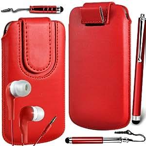N4U Online Premium PU tirón del cuero del tirón del caso Tab cubierta de bolsa Con magnética Cierre de correa, Auricular Auriculares y 3 Pack Bundle Stylus para Nokia 101 - Rojo