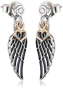 pandora wing earrings pandora 9 k 375 silver zircon earrings co 4387