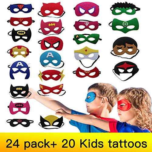 Superhero MasksParty for Kids Costume Masks Superhero Party Supplies Children Party Favors for Kids with 20pcs Temporary Tattoos for Kids Birthday Kids Props for Boy Girls Christmas Aged 3+.