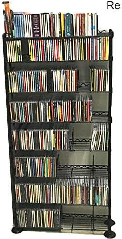 Music CD Storage Rack DVD Wire Shelving 8 Shelf Tier Steel Multimedia Media Steel Metal VHS Movies Holder Warehouse Adjustable Books TV Standing Office Dividers Multipurpose eBook